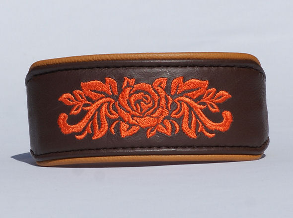 Sighthound Collar Rose - embroidered