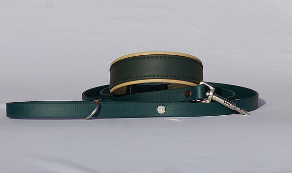 Sighthound collar with matching leash - Biothane, dark green - Bayaana