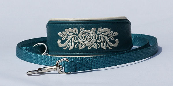 Sighthound collar, embroidered with matvhing lead, teal